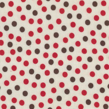 FQ - Red Brown Dot on Cream Flannel Fat Quarter Precut
