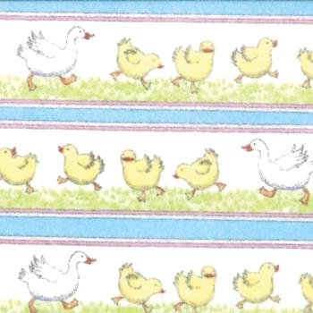 Duck Duck Goose Duck Stripe White Flannel
