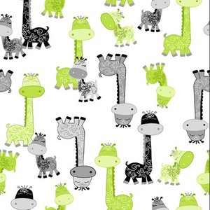 "Comfy Giraffe Green Gray Black Flannel - 12"" Remnant"