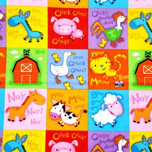 Comfy Farm Animal Squares Flannel