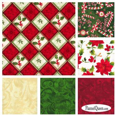 Fat Quarter Bundle - Christmas Holly Poinsettia Flannel Coordinates