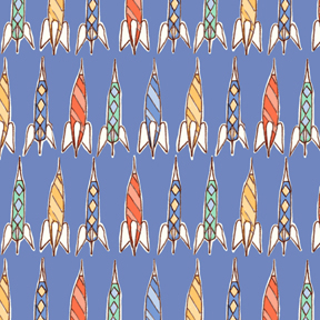 Children at Play Rockets Blue Flannel-michael miller Children at Play Rockets Blue Flannel Fabric #FD5148 Sarah Jane