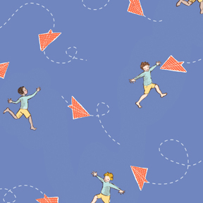 Children at Play Chasing Airplanes Blue Flannel-michael miller Children at Play Chasing Airplanes Blue Flannel Fabric #FD5149 Sarah Jane