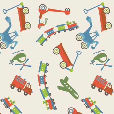 Scoot Main Cream Flannel-riley blake designs flannel fabric deena rutter scoot train main cream 2720 wagon truck firetruck fire engine
