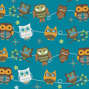 "Hooty Hoot Owl Blue Flannel - 11"" Remnant"
