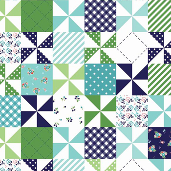 "Country Girls Patchwork Navy Aqua Green Flannel - 16"" Remnant"