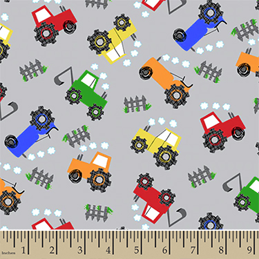 Comfy Colorful Construction Tractors Gray Flannel