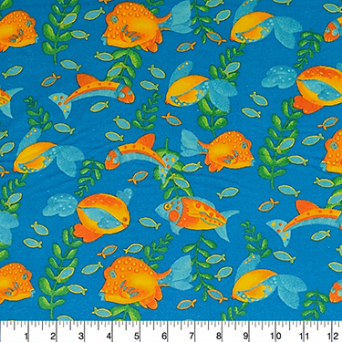 Comfy Bright Fish on Blue Flannel