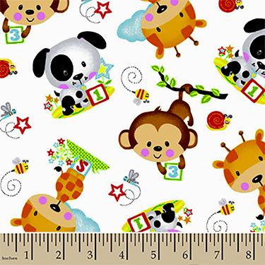 Comfy 123 Puppy Monkey Giraffe Flannel