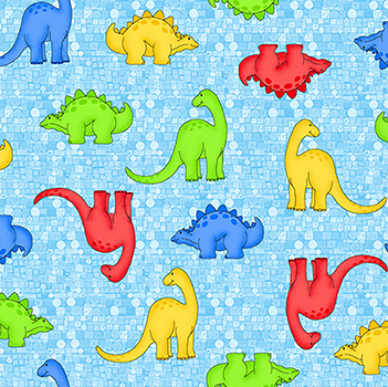 "Comfy Colorful Dinosaur on Blue Flannel - 13"" Remnant"