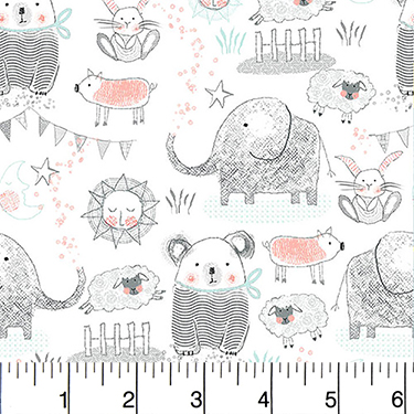Comfy Nursery Animals Gray on White Flannel