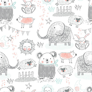 "Comfy Nursery Animals Gray on White Flannel - 18"" Remnant"