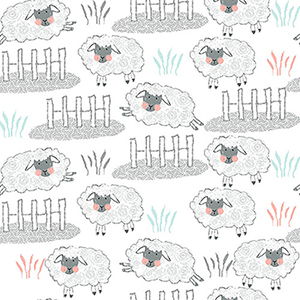 Comfy Nursery Jumping Sheep on White Flannel