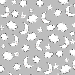 Comfy Sleeping Moon Cloud Star Gray Flannel