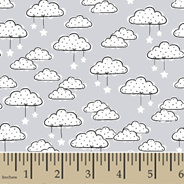 Comfy Stars and Clouds Gray Flannel