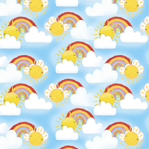 Welcome to the Jungle Rainbow Clouds Flannel