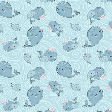 Mommy and Me Whales 16533-BLU Flannel