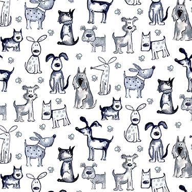 Poochie McGruff Allover Dog 16536-WHT Flannel