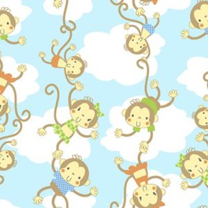 "Comfy Monkeys and Clouds Flannel - 10"" Remnant"