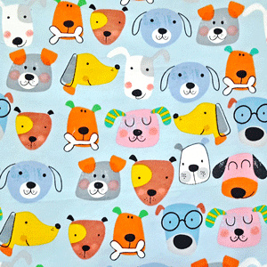 "Comfy Dog Faces on Blue Flannel - 17"" Remnant"