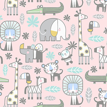 Snuggle in the Jungle Animals Pink Flannel