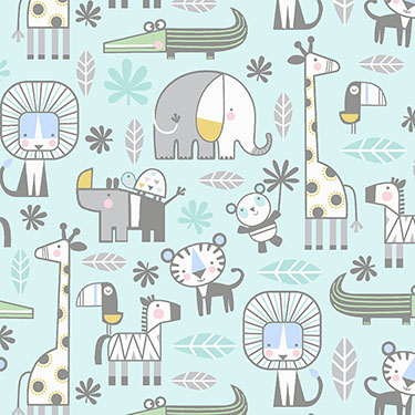 Snuggle in the Jungle Animals Turquoise Flannel