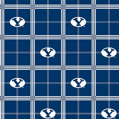 "BYU Brigham Young University Plaid Flannel - 18"" Remnant"