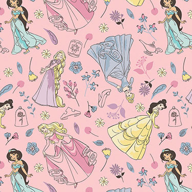 Disney Princess and Flower on Pink Flannel