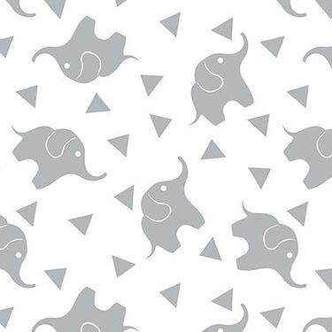 Dreamtime Elephant Confetti Gray Flannel