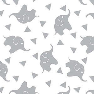 Dreamtime Elephant Confetti Gray Flannel