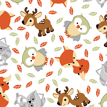 "Sweet Woodland Friends Toss White Flannel - 12"" Remnant"