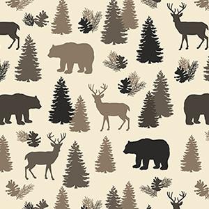 Wildlife Silhouette on Cream David Textiles Flannel