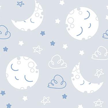 Dreamtime Sleepy Moon Blue Gray Flannel