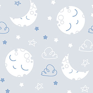 Dreamtime Sleepy Moon Blue Gray Flannel