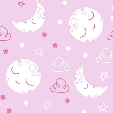 Dreamtime Sleepy Moon Pink Flannel