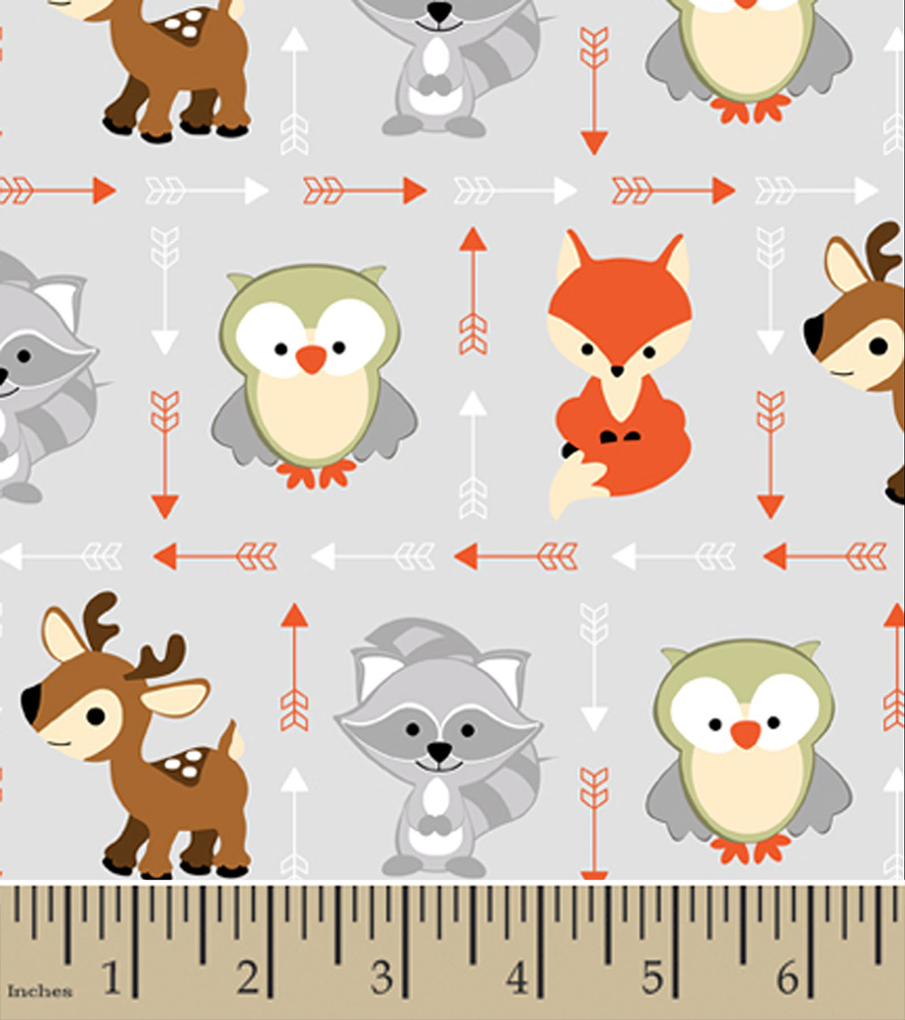 Sweet Woodland Friends Patchwork Gray Flannel
