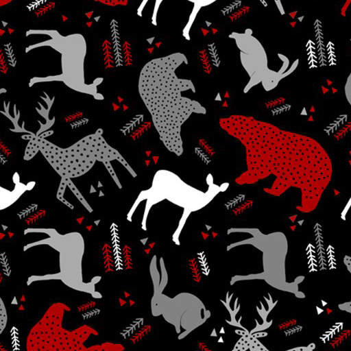 Forest Animals Black Red Gray Flannel