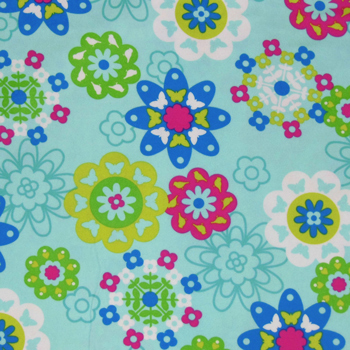 "Irving Street Flower Power Blue Flannel - 32"" Remnant"