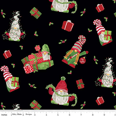 Gnome for Christmas Main Black Flannel F10610