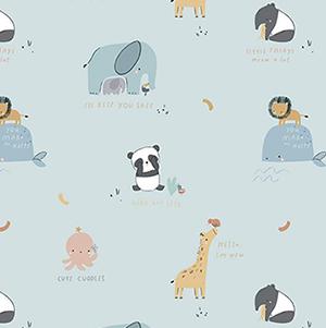 Cute Cuddles Blue Flannel F10623