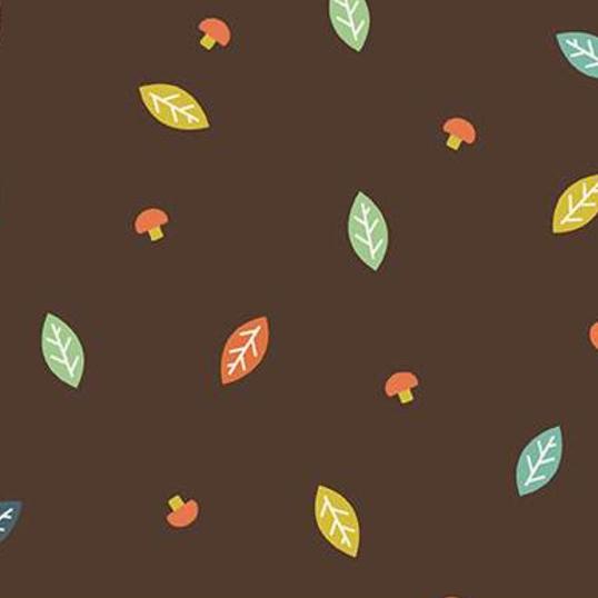 Woodland Wood Leaves Brown Flannel F10632