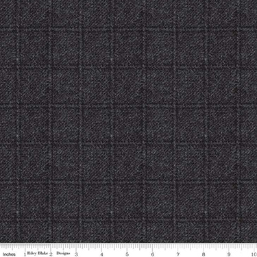 Woolen Flannel Plaid Black Flannel F10640