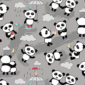 Panda Love Gray Flannel F7782