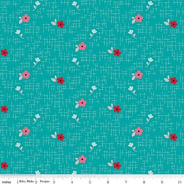 Panda Love Flowers Aqua Flannel F7783