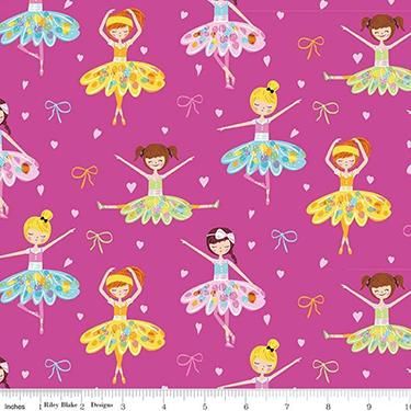 Ballerina Bows Pink Flannel F7784