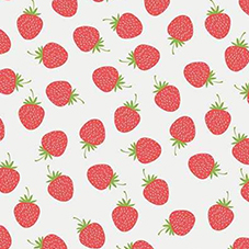 Strawberry Toss on White Flannel F7787