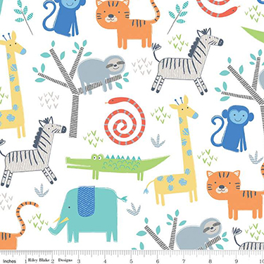 Jungle Animals on White Flannel F7801