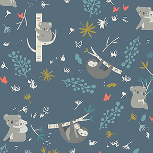 Joey Koalas and Sloths in Trees Navy Flannel F7803