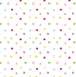 Once Upon a Time Multi Hearts on White Flannel F7808