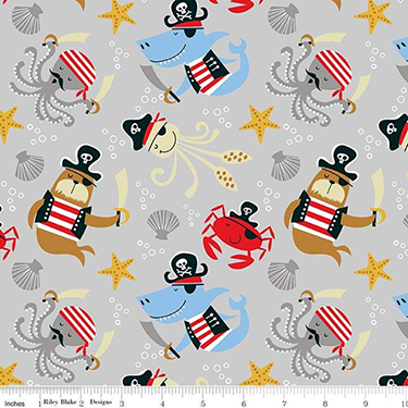 Sea Creatures Main Gray Flannel F8216